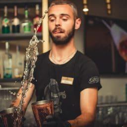 Bartender making a fancy drink